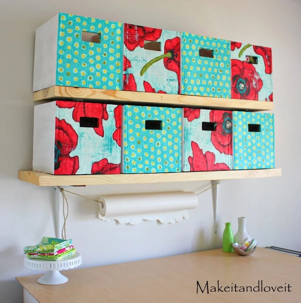 Craft Room Part 1 Covered Cardboard Storage Boxes