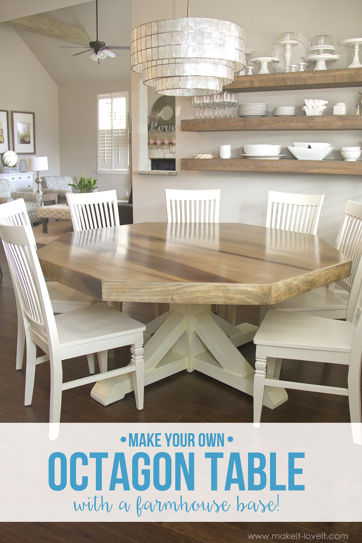 diy octagon dining room table with farmhouse base make kitchen table DIY Octagon Dining Room Table with a farmhouse base Seats 8