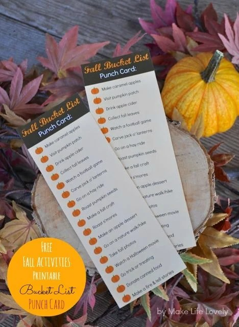 Free fall activities printable punch card.  Brilliant!  Do each activity with your family, then punch a hole in the pumpkin next to it.  Definitely doing this!