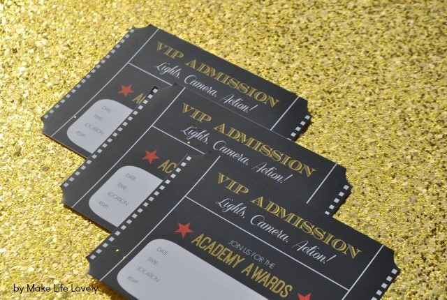 Free Printable Oscar Party Invitations + DIY Gold Glitter Envelopes