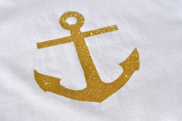 Gold Glitter Anchor Shirt