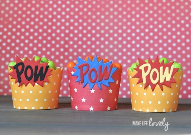 DIY Superhero party candy cups