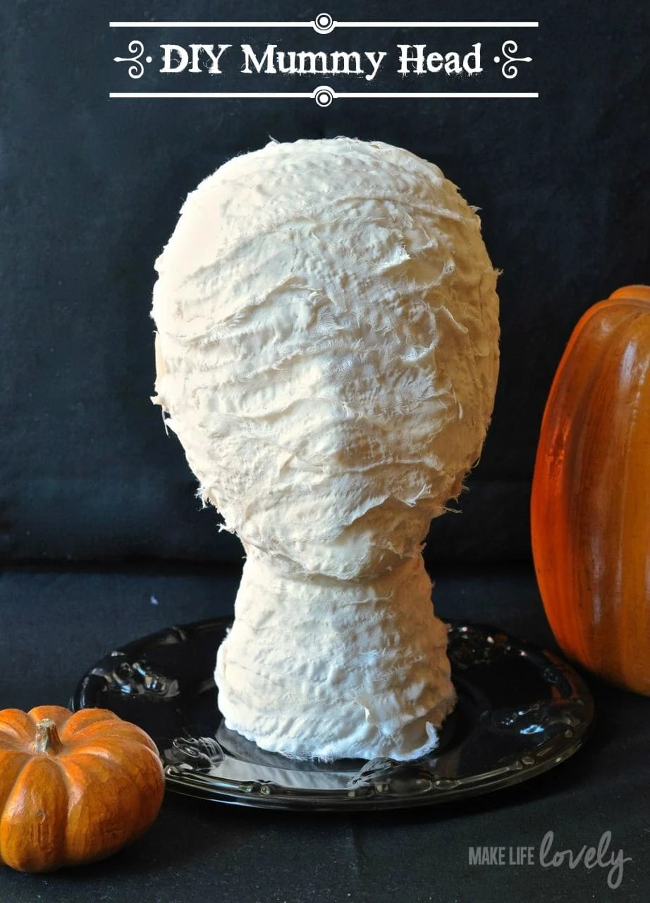 DIY Mummy Head (from Styrofoam Head)