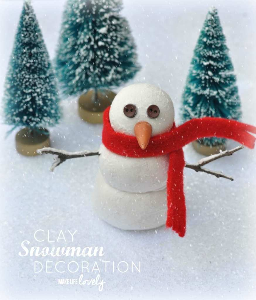 Clay snowman Christmas decoration