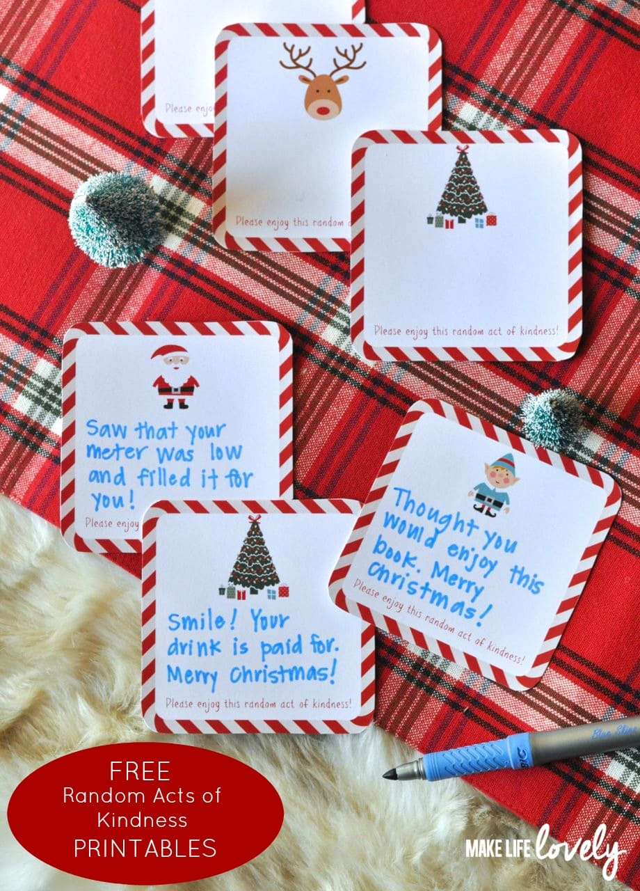 Free printable random act of kindness cards make life lovely free printable random acts of kindness cards for the holidays pronofoot35fo Image collections