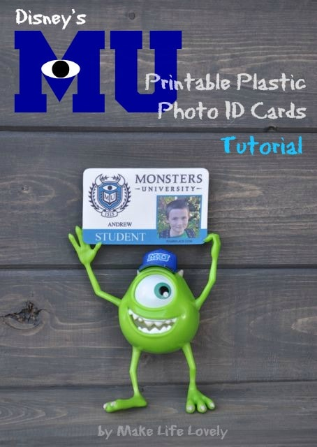 Disney Monsters University Printable Plastic Photo ID Card, by Make Life Lovely