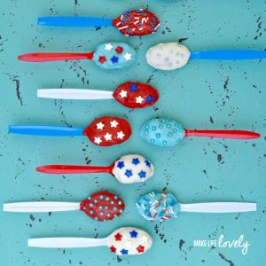 Fourth of July Chocolate Truffle Spoons