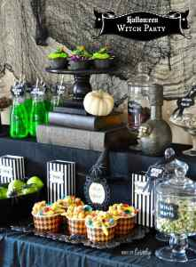 Witch Halloween Party + Cauldron Pudding