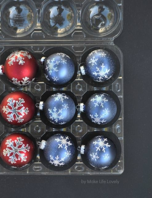 Use a plastic apple container from Costco to store your Christmas ornaments. Brilliant!