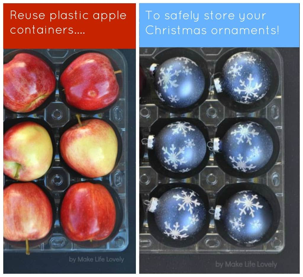Reuse plastic Costco apple packaging to safely store Christmas ornaments. Great idea!
