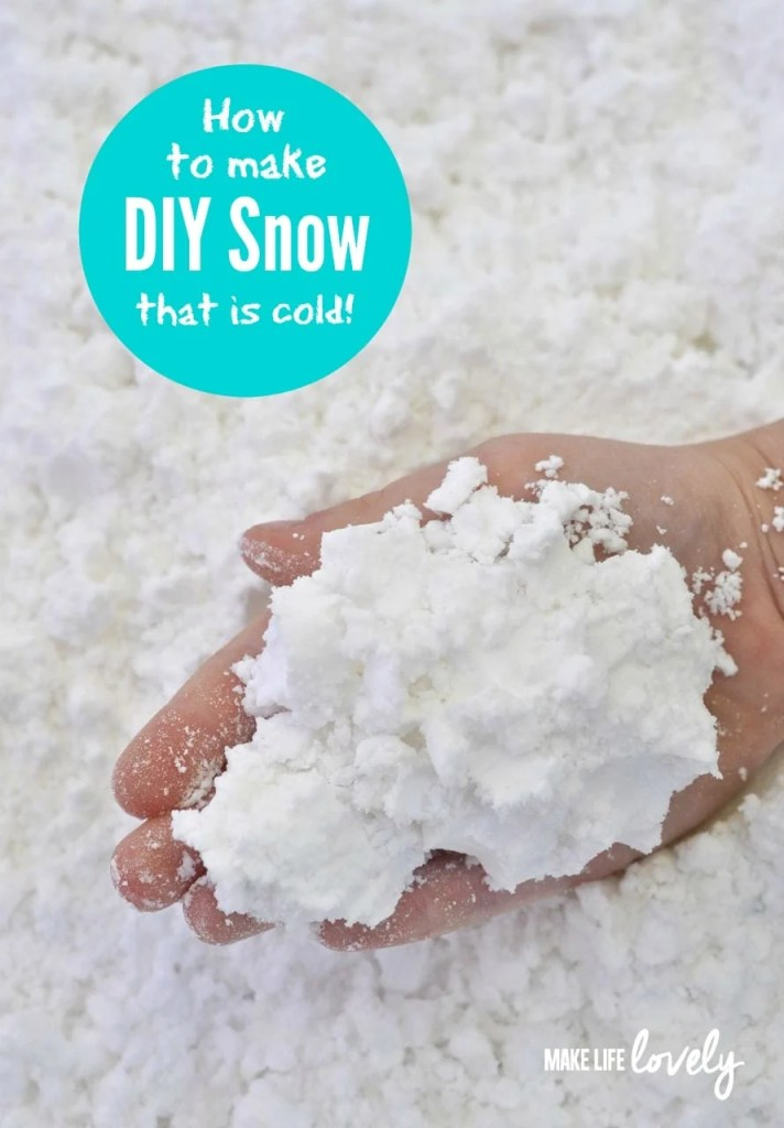 How to make cold snow for kids! Just 2 ingredients, smells, great, and is acutally cold like real snow!!