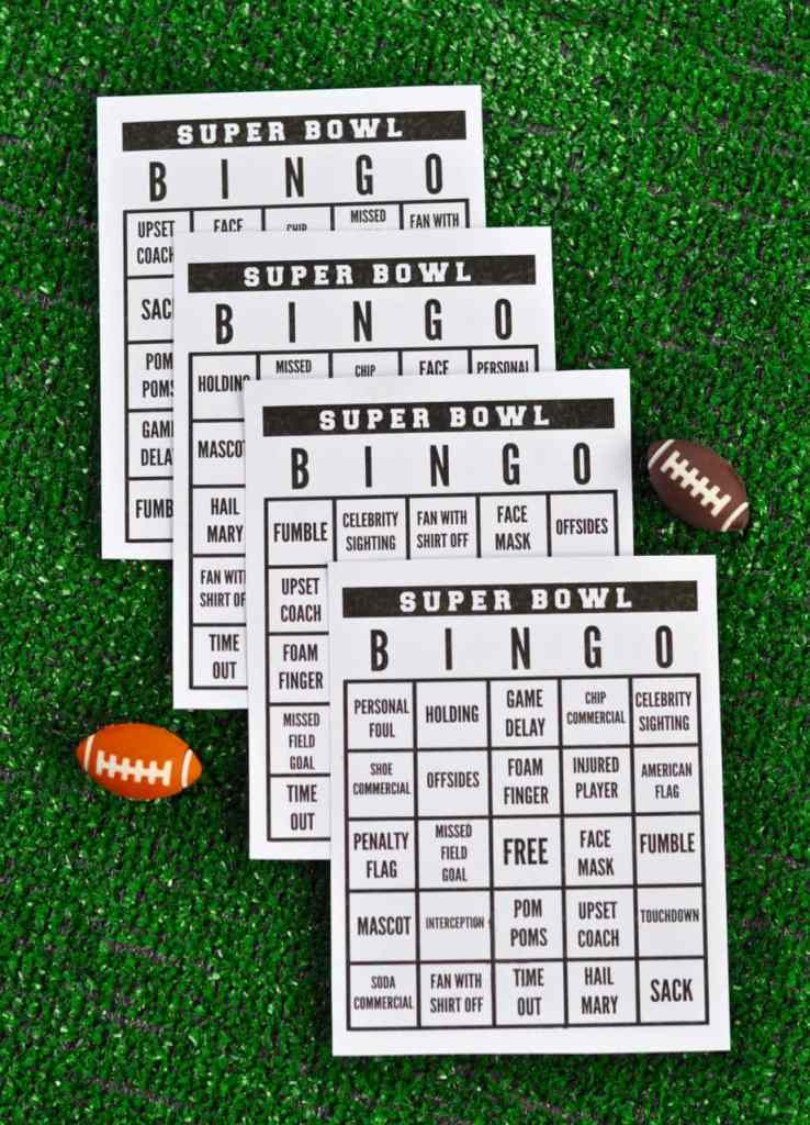 Free printable Super Bowl Bingo Cards