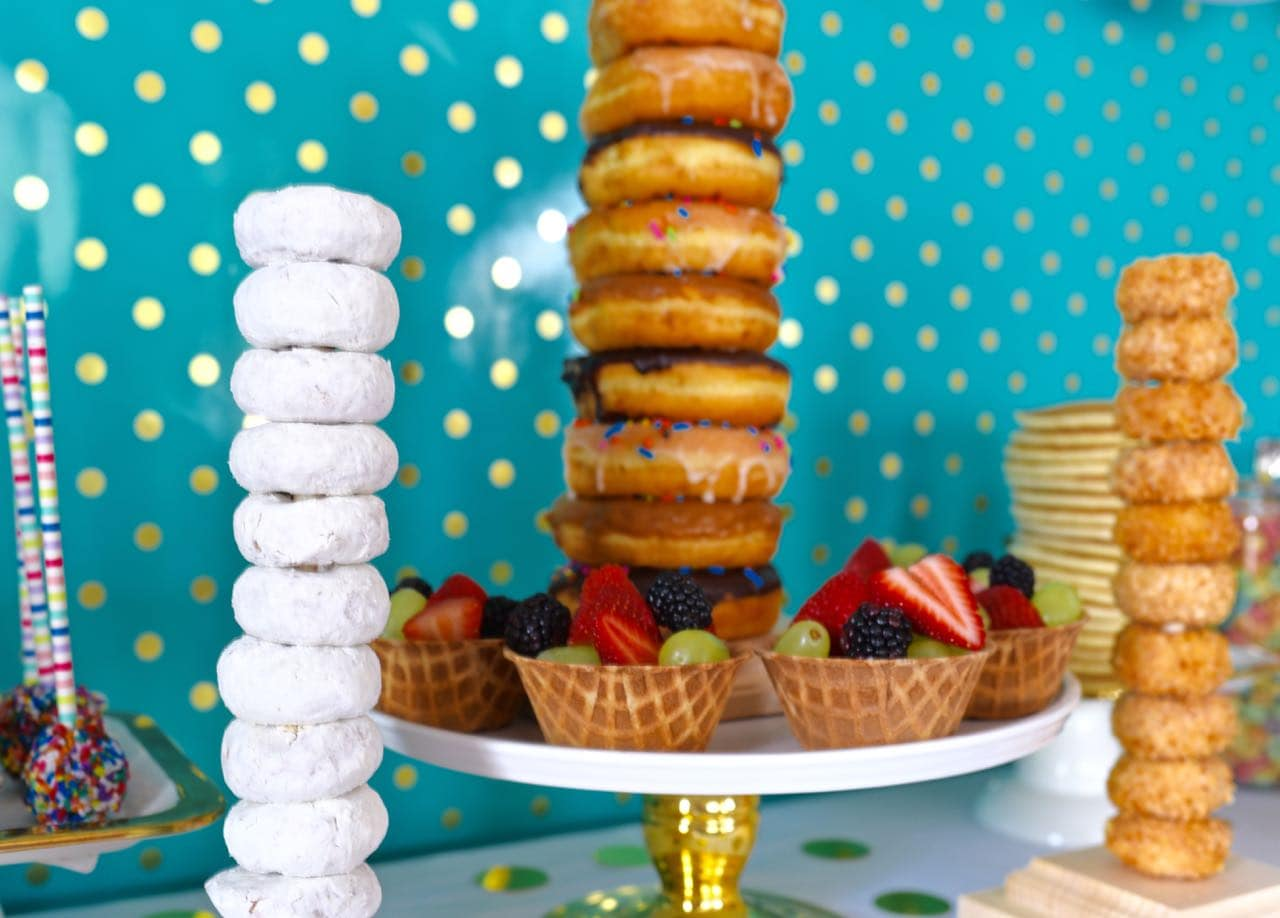 DIY donut stands at pancakes and pajamas party
