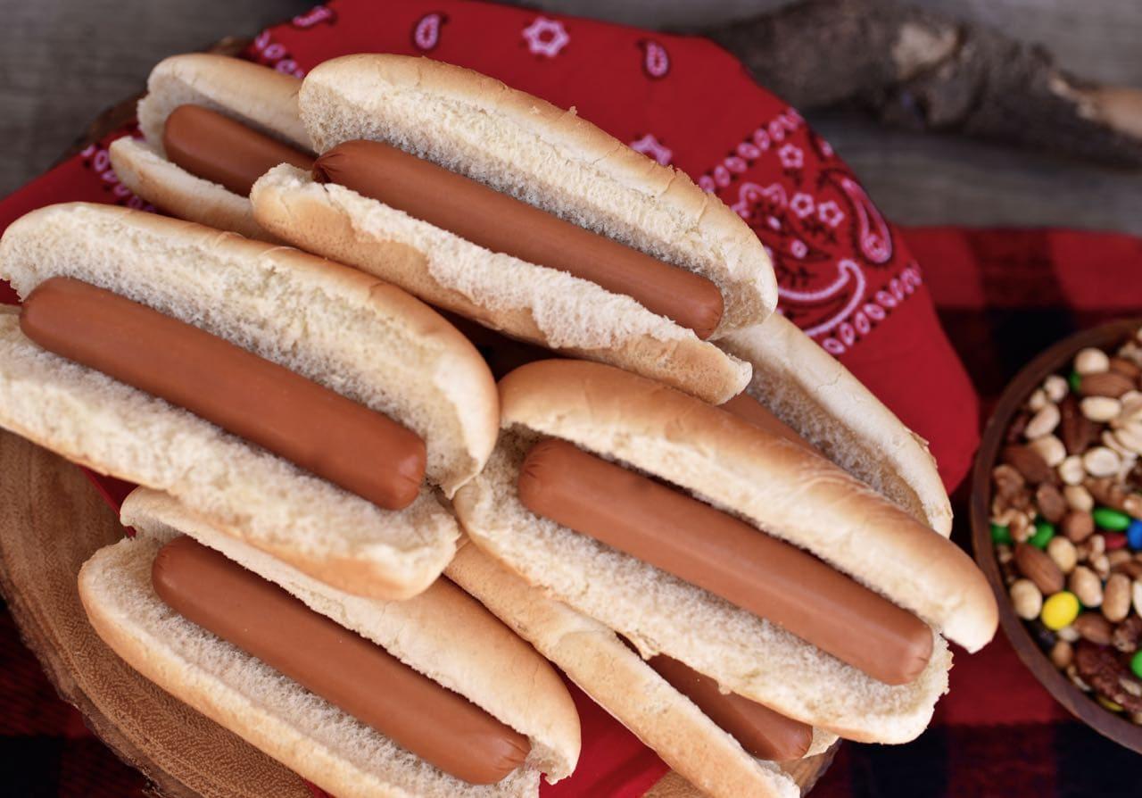 Hot dogs at backyard camping party