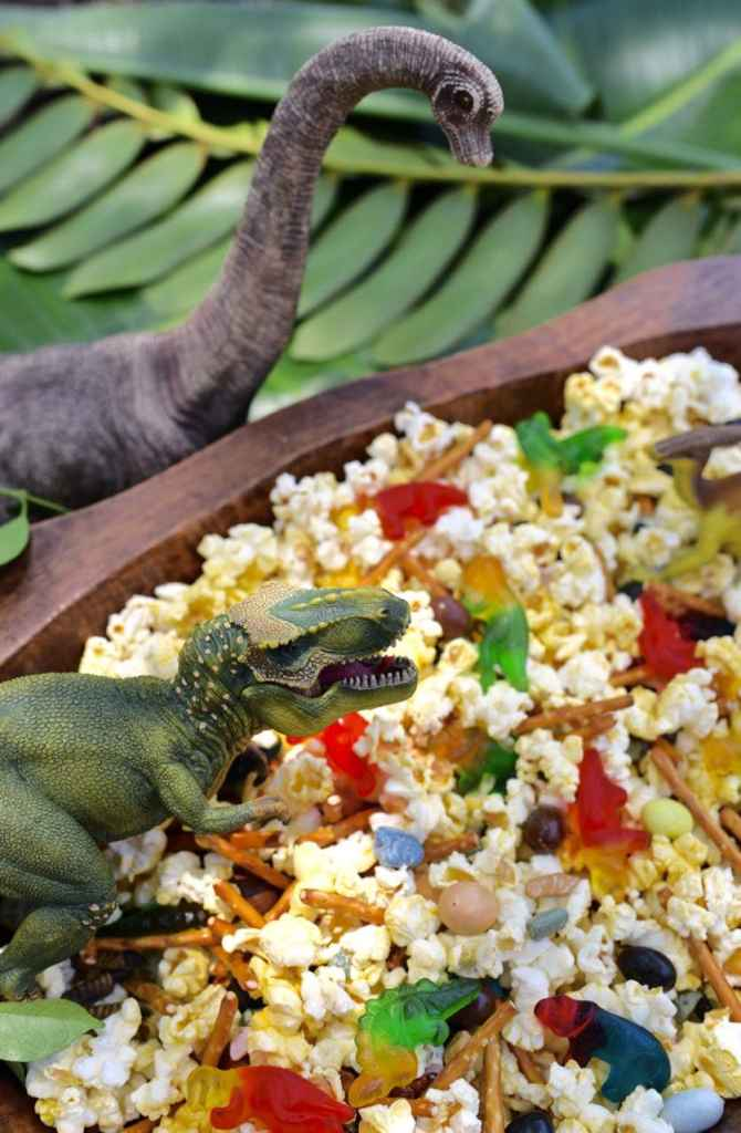 Dinosaur snack mix recipe, perfect for a dinosaur party!