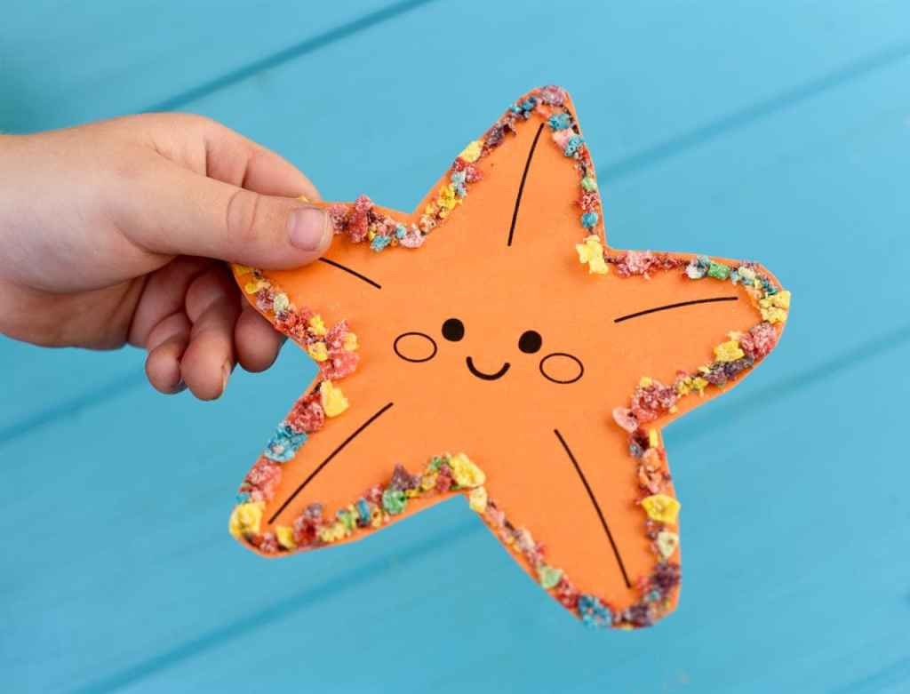 Ocean animal craft made with Fruity Pebbles Cereal