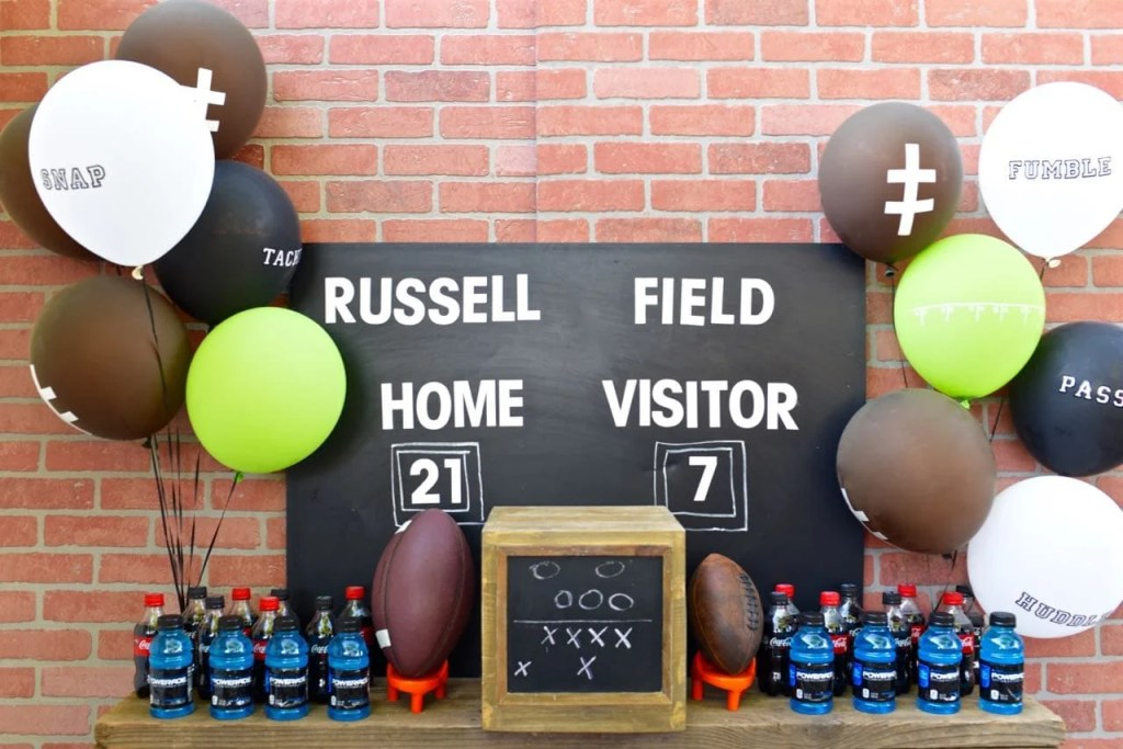 Football party decorations and DIY scoreboard
