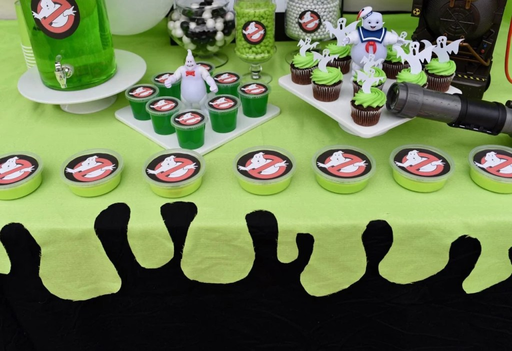 Ghostbusters slime tablecloth at a Ghostbusters party