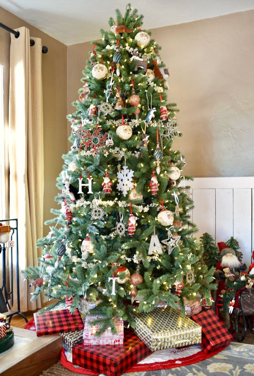 My christmas living room tour make life lovely for Christmas tree in living room photos