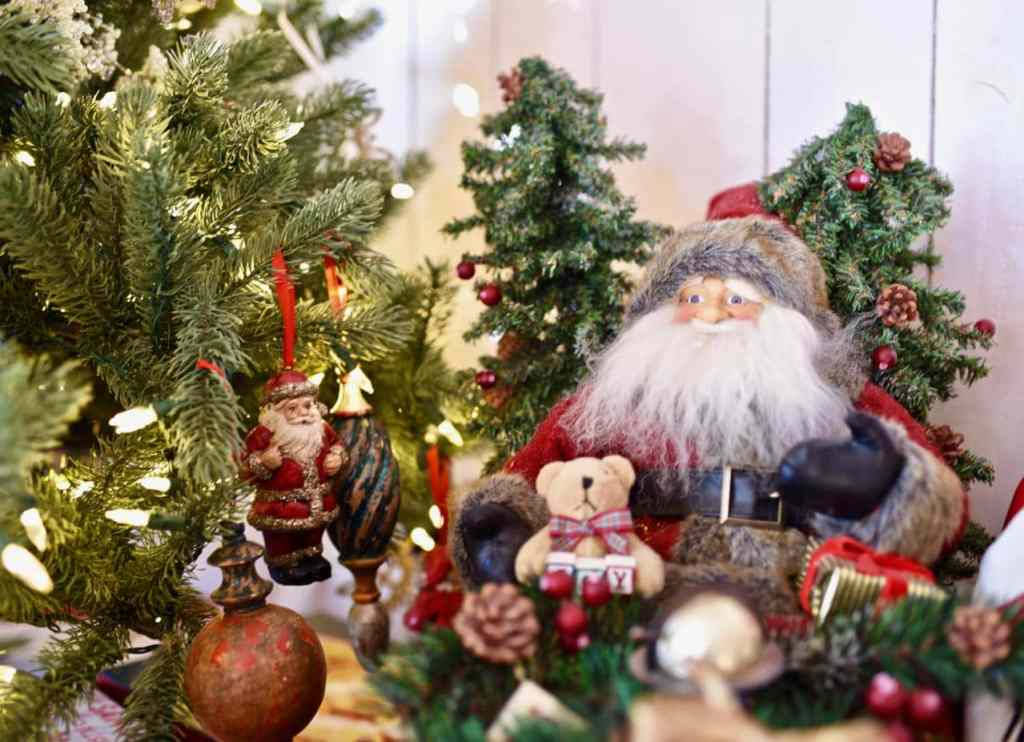 Santa decoration in Christmas living room