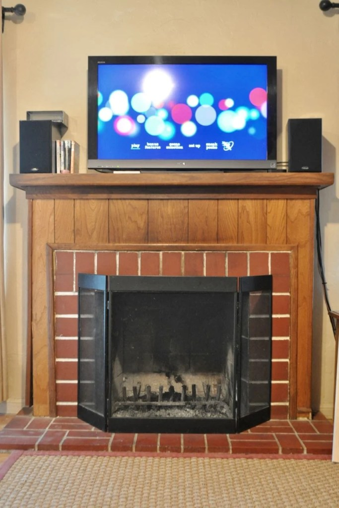 Brick fireplace makeover with AirStone before