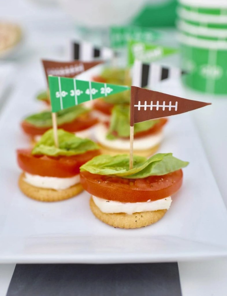 Caprese appetizers with Ritz. The perfect appetizer for a football game or the Super Bowl!