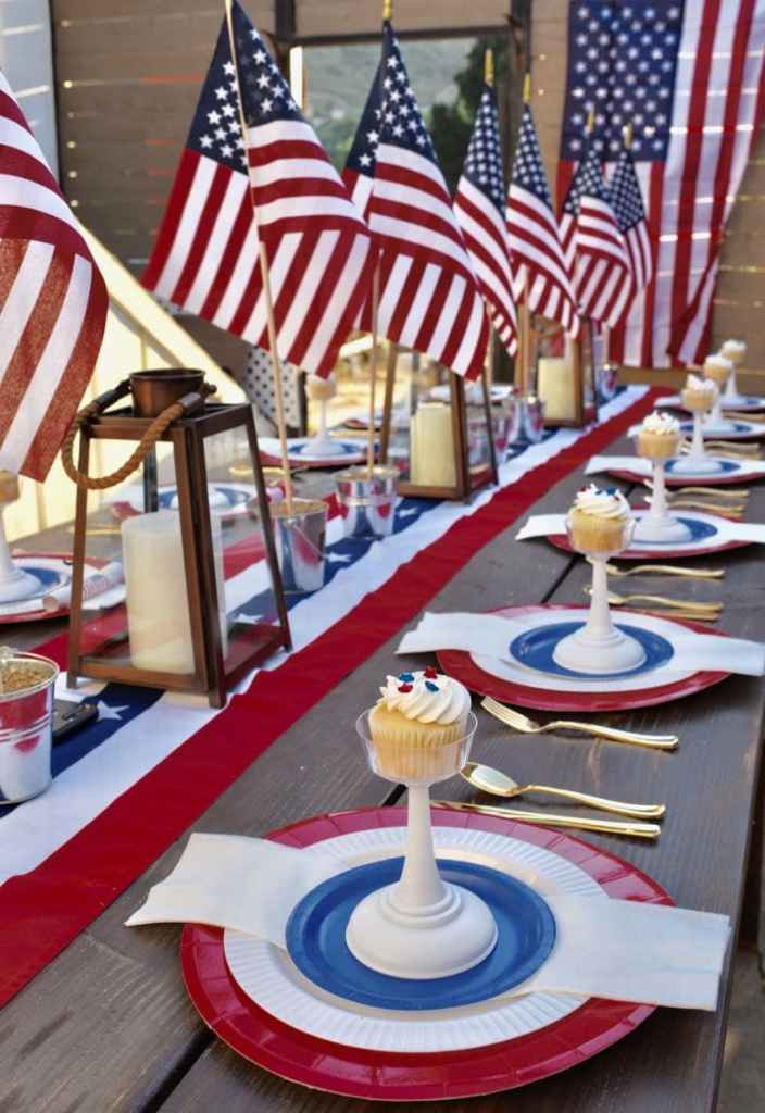Patriotic 4th of July party table and place settings