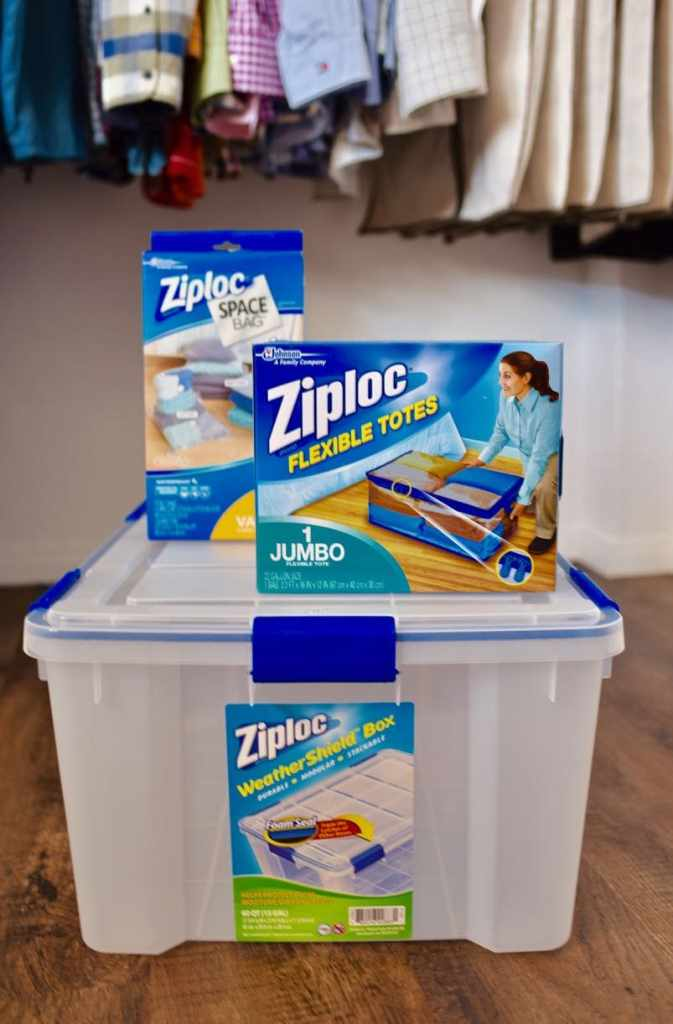 Small closet organization with Ziploc Storage Bags at Lowe's