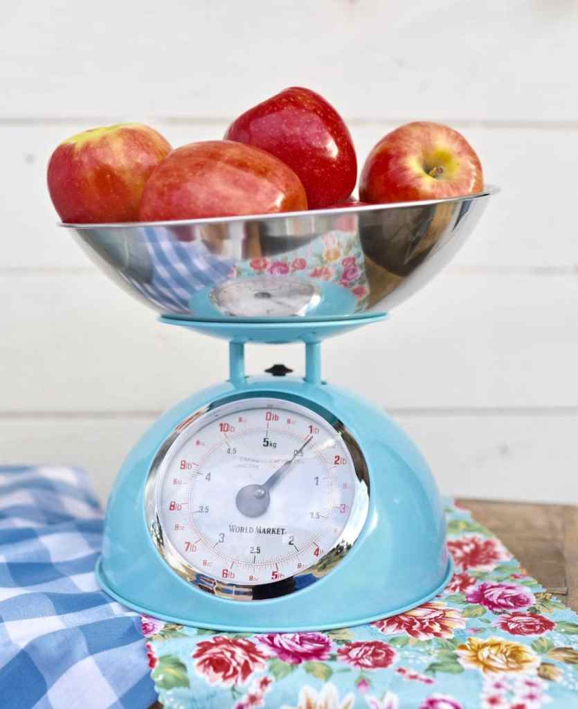 Vintage scale with apples at county fair party