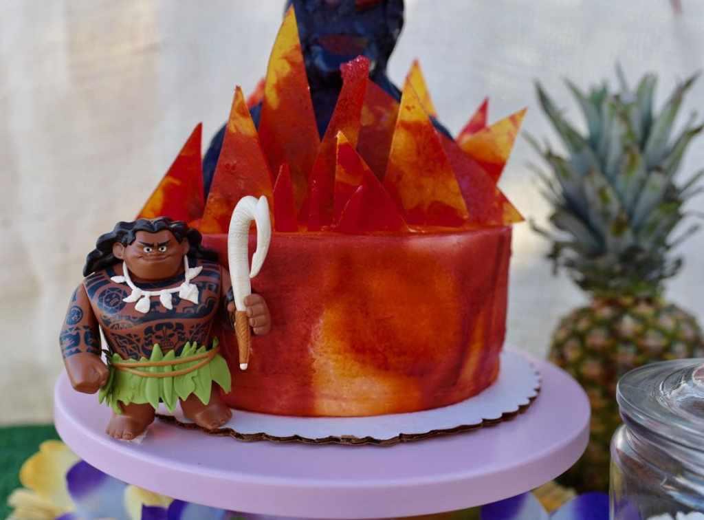 Moana birthday party cake with Maui and Te Ka