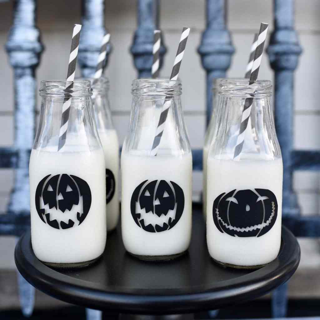 Nightmare Before Christmas Halloween party milk bottles with vinyl pumpkins