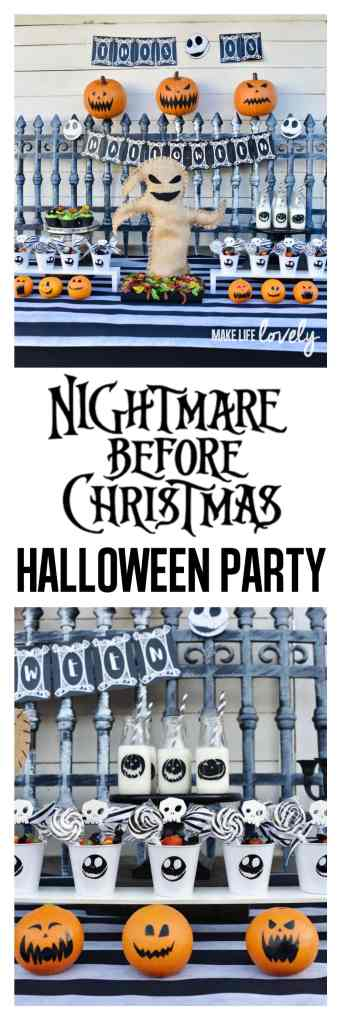 Nightmare Before Christmas Halloween party. Amazing party with Oogie Boogie bug platter, Jack Skellington party favors, jack-o-lantern oranges, and so much more!