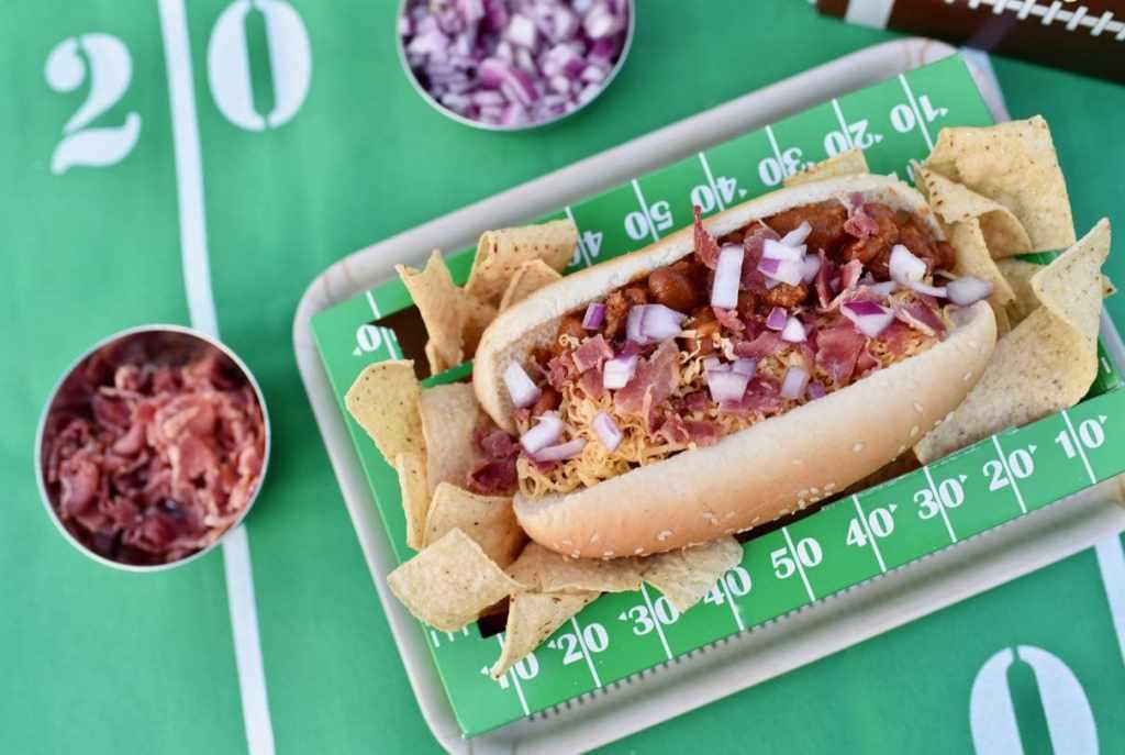 Bacon chili cheese dog football food