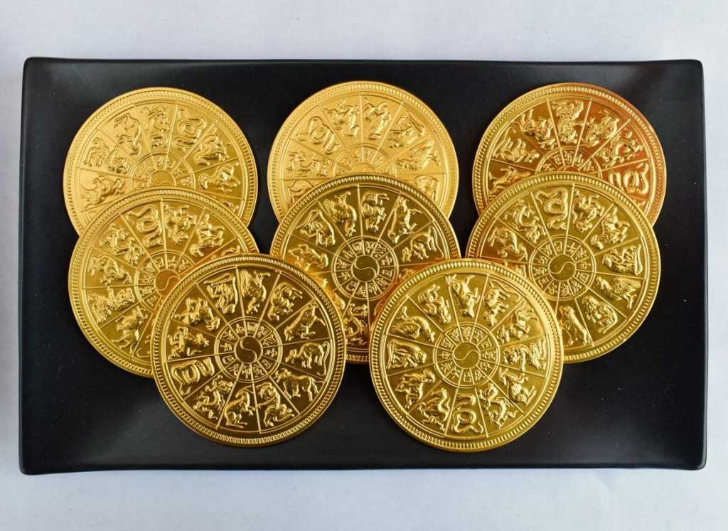 Chinese zodiac gold coins at Chinese New Year party