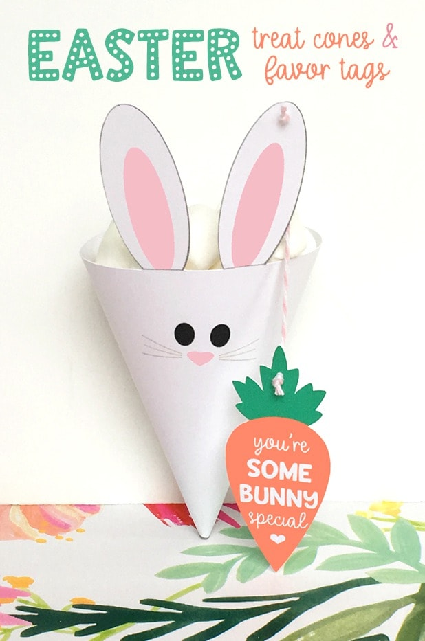 Easter Bunny Treat Cones and Favor Bags