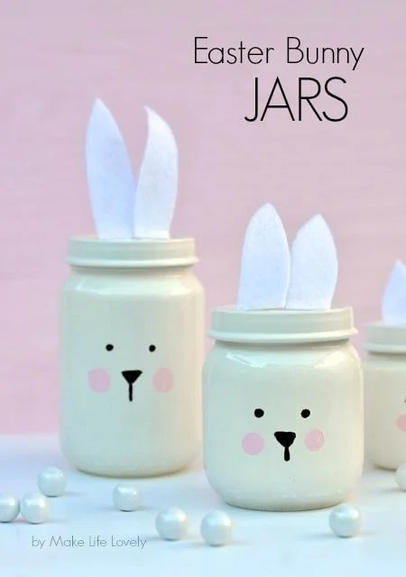 Painted Easter bunny jars tutorial made from baby food jars