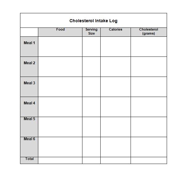 food intake log - Onwebioinnovate - blank food log