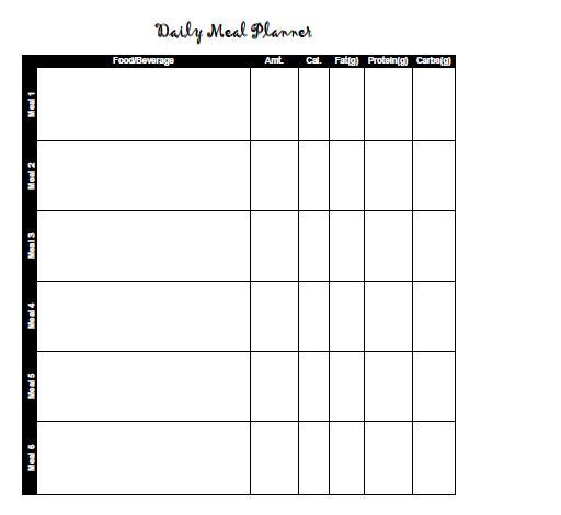 Meal Calendar Free and Printable Templates - workout calendar template