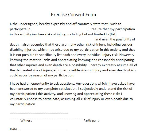 Exercise Consent Forms