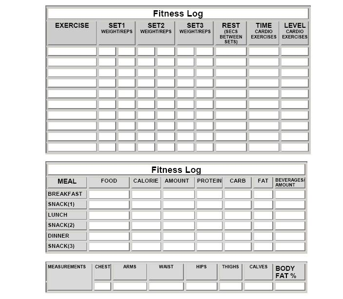 Fitness Logs Printable Exercise and Diet Sheets - workout program sheet