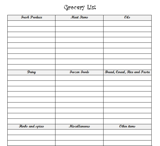 Grocery List With Food Categories