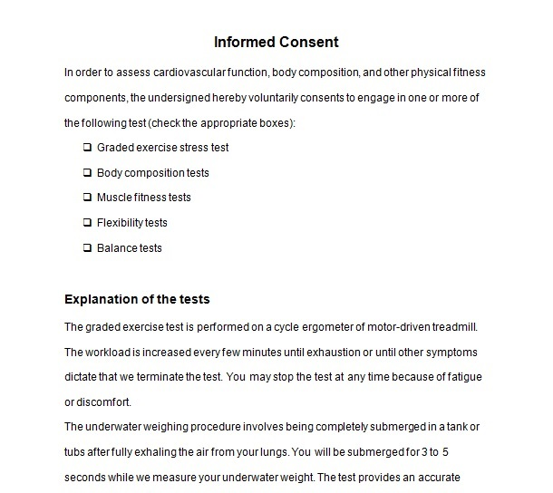 Exercise Consent Forms Templates in Word and PDF Format - consent form