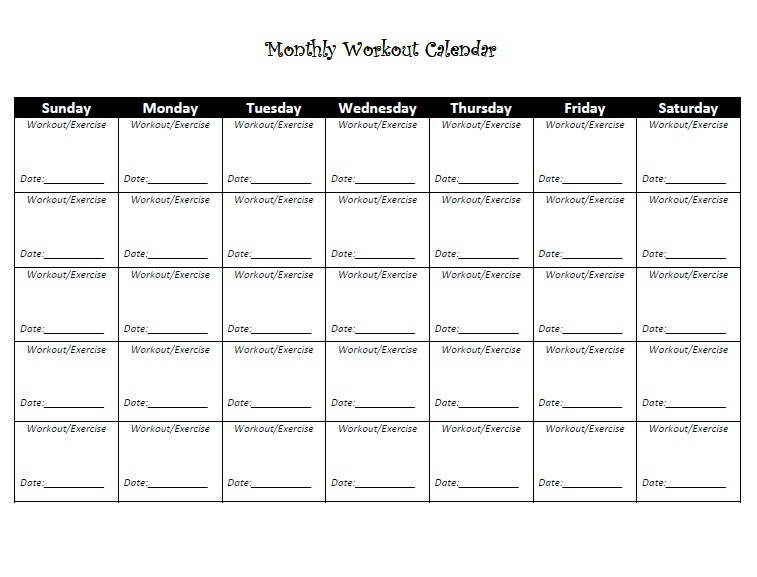 monthly exercise calendar template - monthly workout log