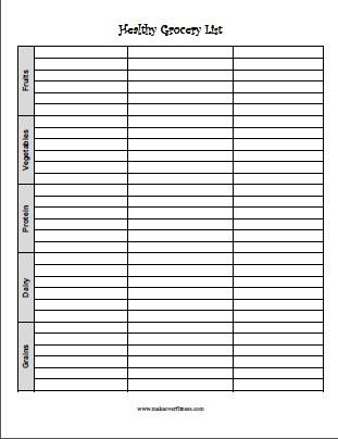 Printable Grocery List - printable grocery list template
