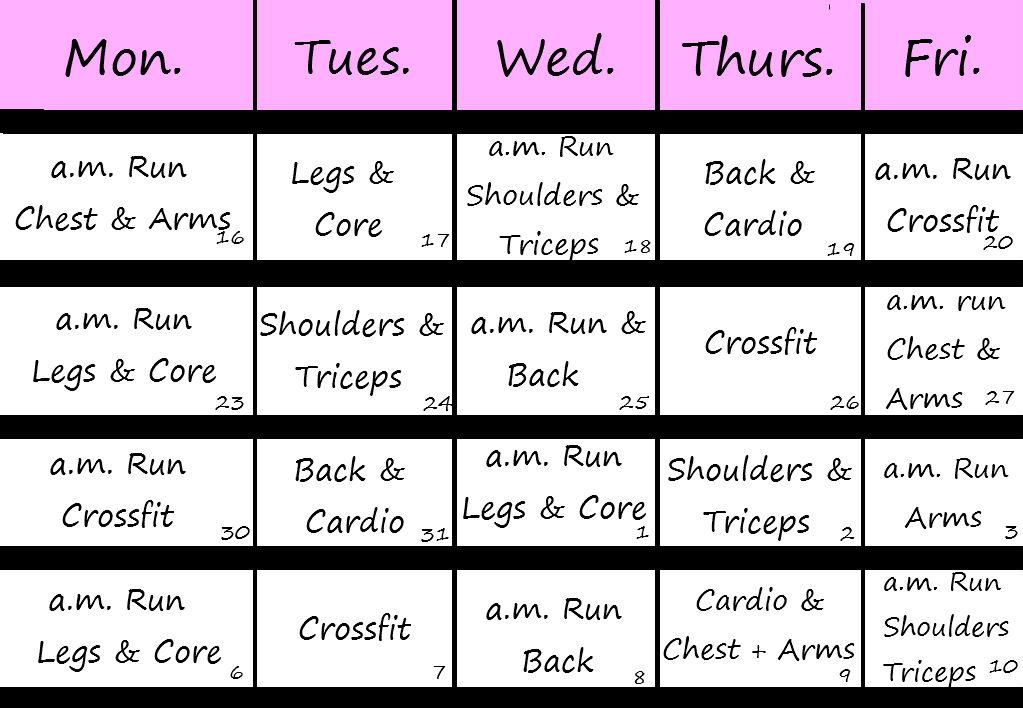 Workout Calendar Printable and Downloadable - sample workout calendar