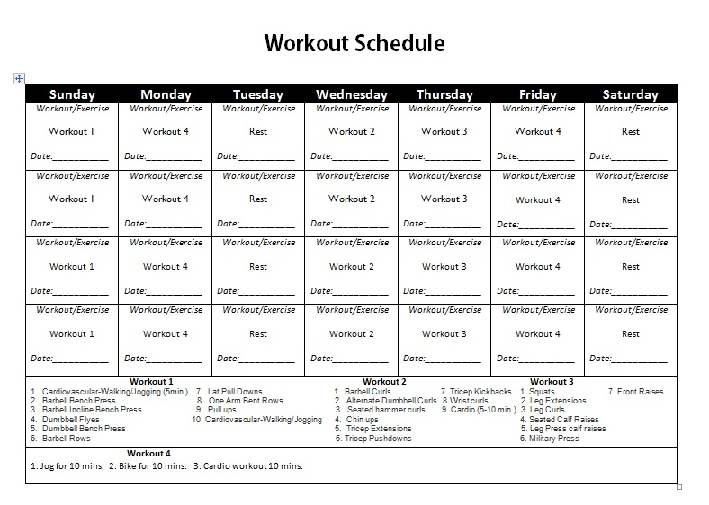 Workout Schedule for Men