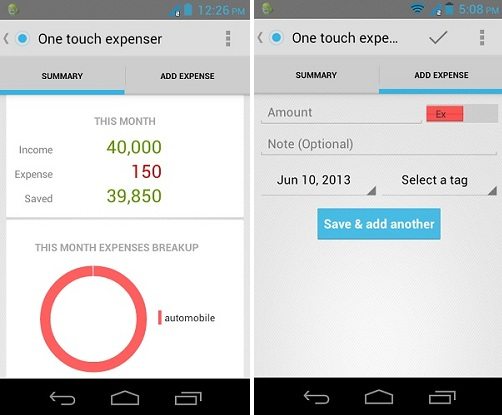 One Touch Expenser A Simple Android App To Track Your Expenses