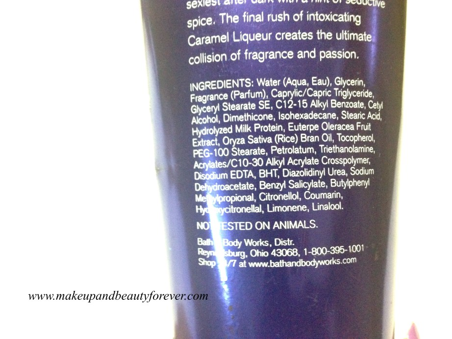 Bath & Body Works Forever Midnight Body Cream Review ingredients