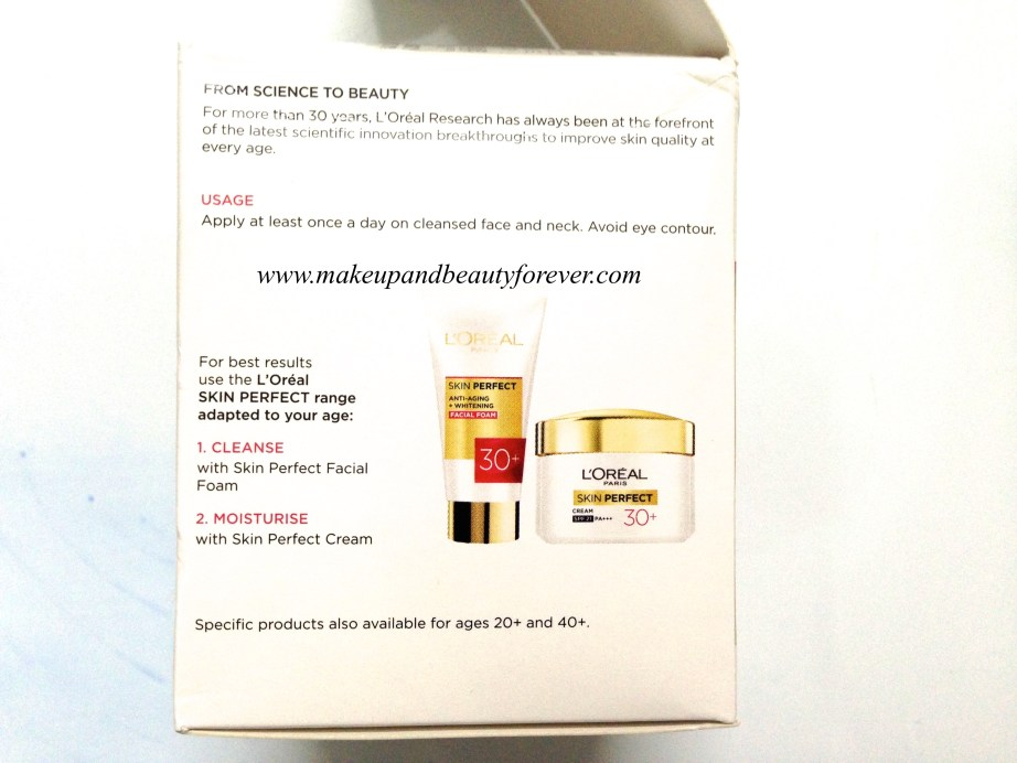 L'Oreal Paris Skin Perfect Anti-Fine Lines + Whitening for age 30+ Cream Review 1