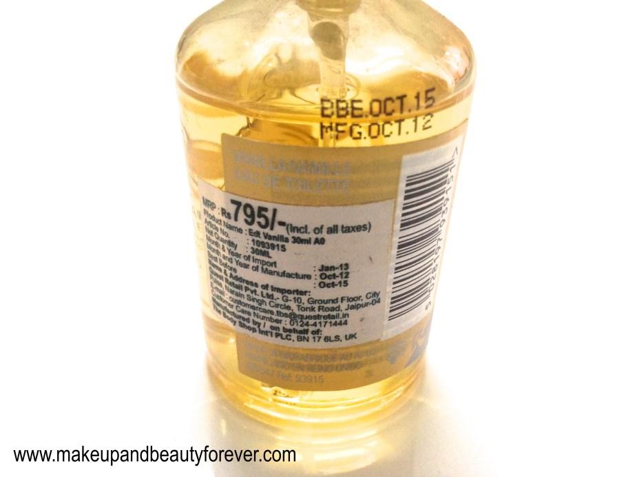 The Body Shop Vanilla Eau de Toilette Review Price Buy India